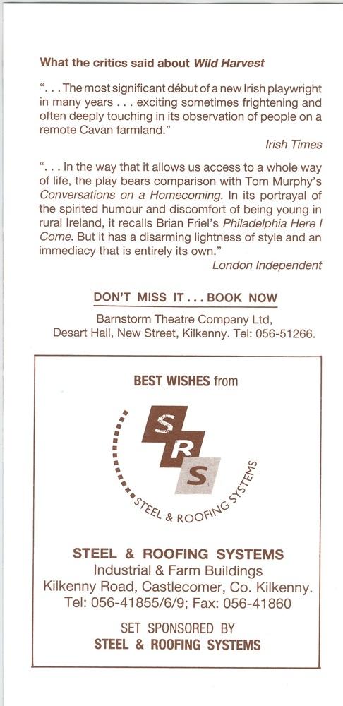 Promotional flier - reverse