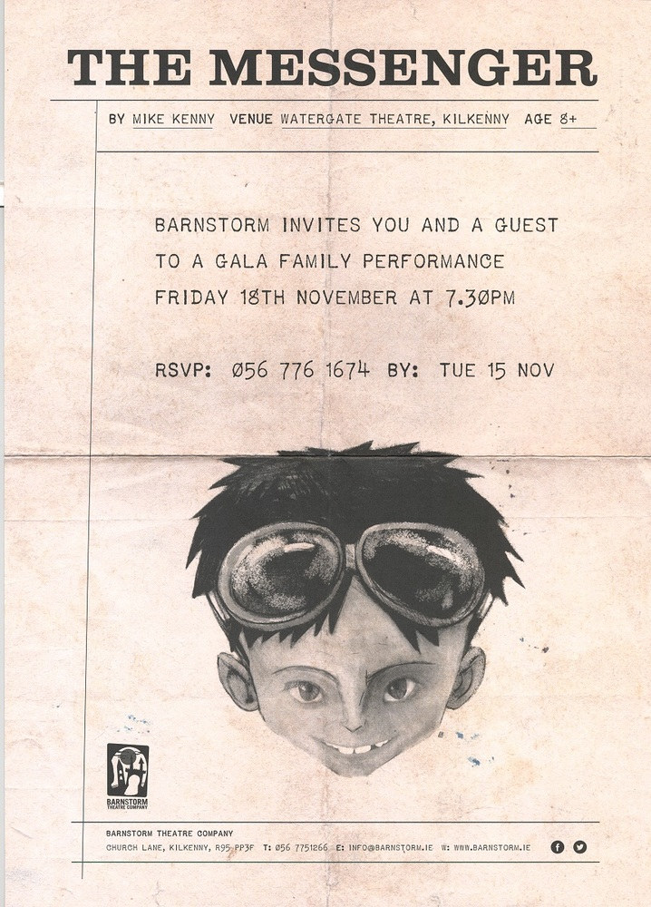 Invitation to premiere of The Messenger. Illustration: Alé Mercado. Graphic Design: Tom Feehan