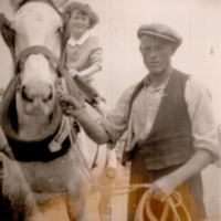John Gahan Tinnahinch with Horse and unknown child c.png